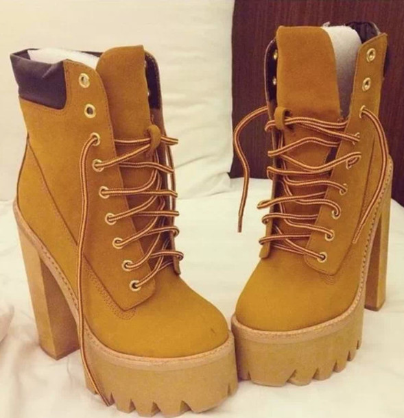 shoes boots wedges timberlands high heels brown edit tags