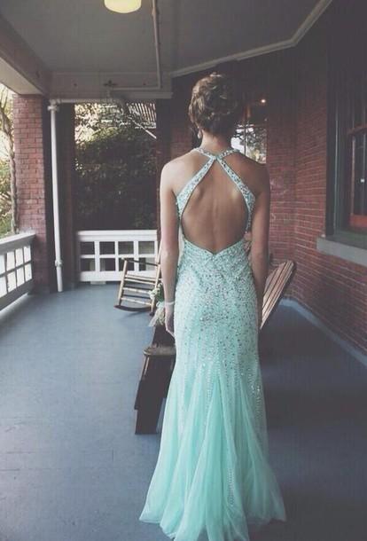 dress prom dress prom backless teal Pin up gorgeous dress straps dress