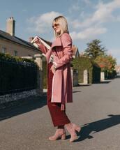 coat,wool coat,pants,wide-leg pants,cropped velvet pants,suede boots,sock boots,printed blouse,sunglasses