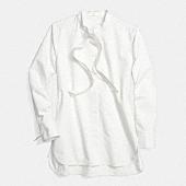 White cotton tie collar shirt