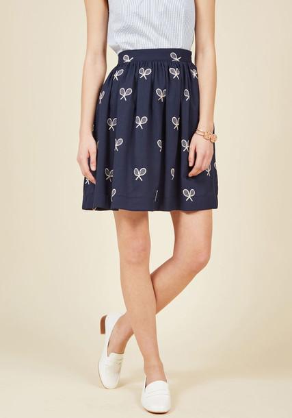 108310 skirt blue skirt high sweet perfect number navy white blue