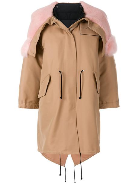 parka oversized fur women cotton silk brown coat