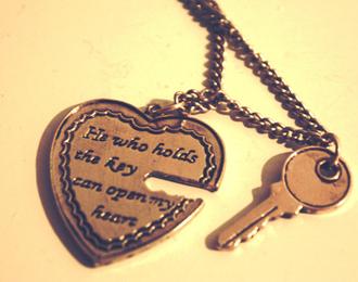 jewels necklace heart key keychain