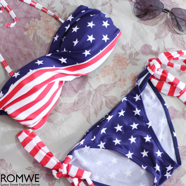 ROMWE | Sexy Twisted US Flag Printing Padded Strap Bikini Swimsuit, The Latest Street Fashion