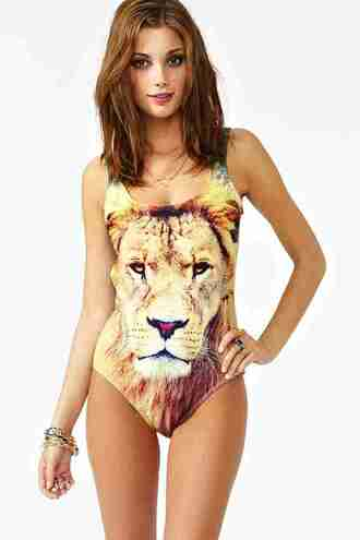 swimwear the king we are handsome one piece lion animal face print
