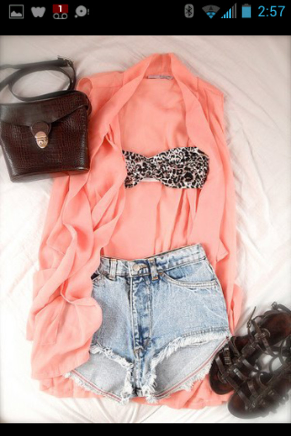shorts shoes cardigan blouse