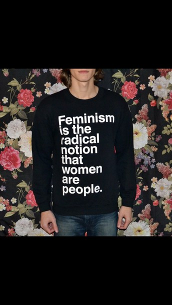 shirt feminism is the radical notion that women are people black and white sweatshirt long sleeves cute print t-shirt fashion cas