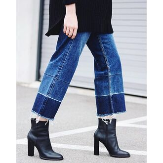 jeans nastygal denim cropped flare vintage ripped blue jeans high waisted