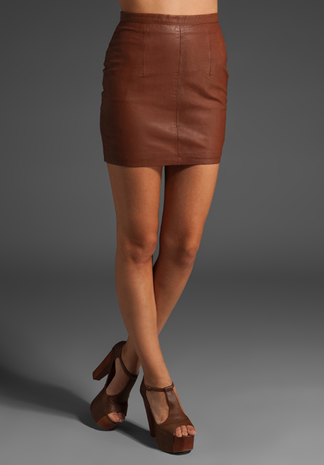 RAMSAY Leather Mini Skirt in Brown at Revolve Clothing - Free ...