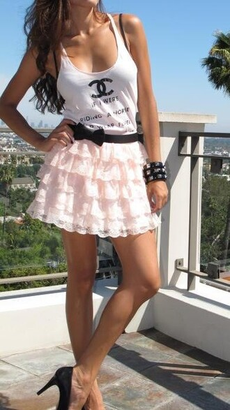 tank top chanel tank chanel chanel inspired white tank top skirt belt