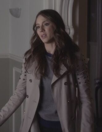 coat troian bellisario pretty little liars spencer hastings zipped studded trench coat asymmetrical colorblock sweater colorblock pink purple