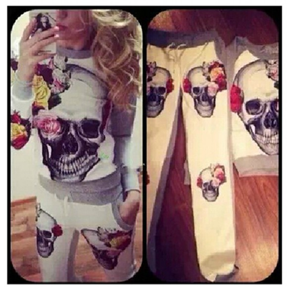 pants 2 peice set long sleeves o neck pullover sportswear sweatshirt tracksuit flower print skull print
