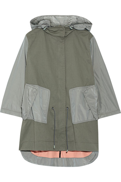 parka shell layered cotton green army green coat
