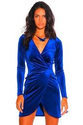 dress,blue,velvet dress,versace inspired dress,velvet,blue dress,wrap dress