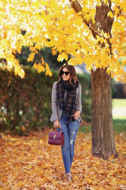 stephanie sterjovski - life + style blogger jacket scarf shoes bag fall outfits handbag blazer tartan scarf