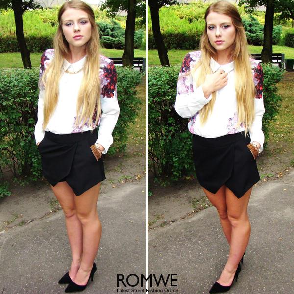 ROMWE | Asymmetric Black Shorts, The Latest Street Fashion