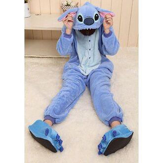 pajamas lilo and stitch cute jumpsuit blue onesie stitch onesies disney onesie