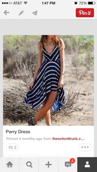 dress sundress summer summer dress cute blue straps stripes v neck short dress flowy mini dress