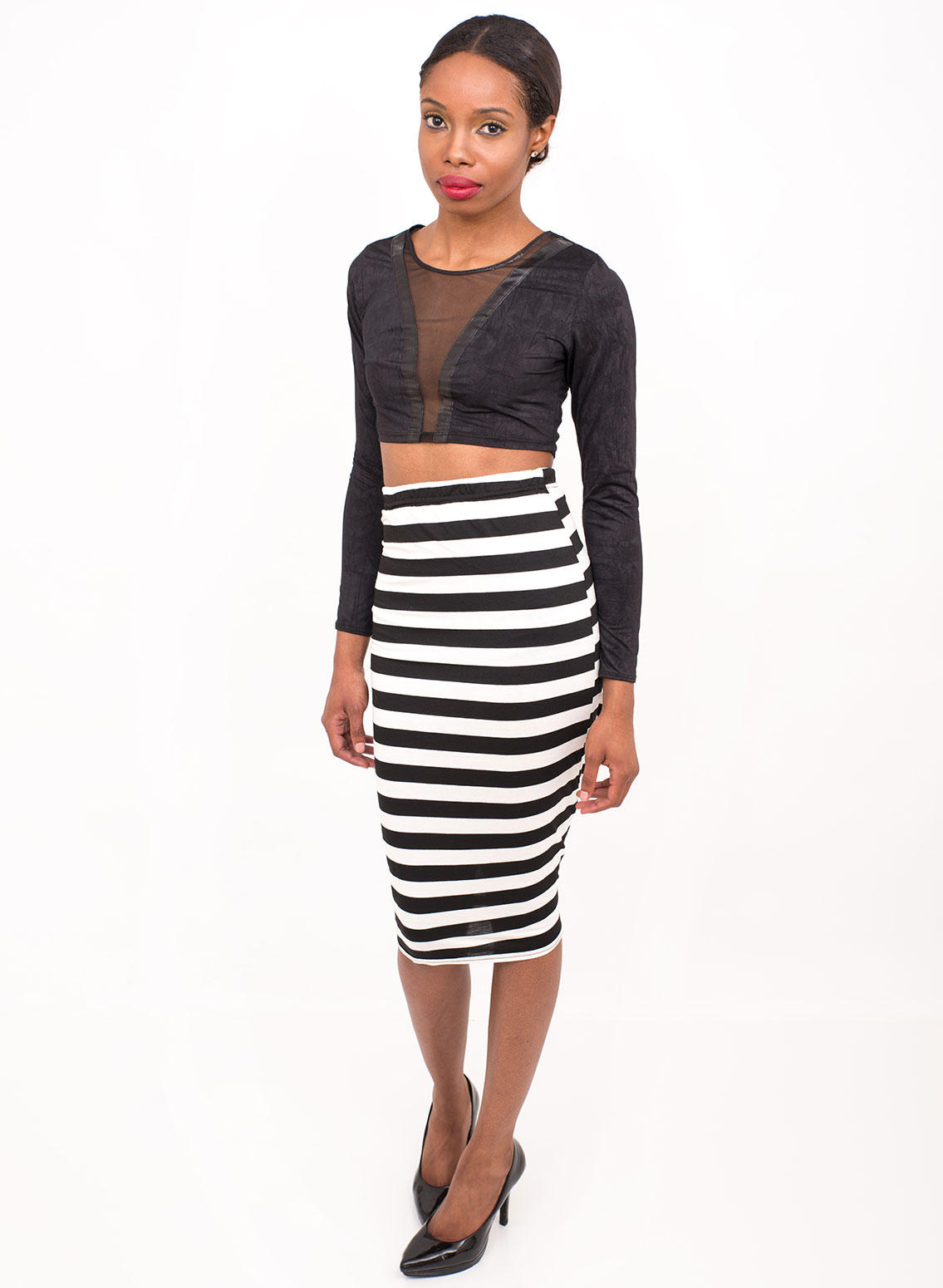 pencil striped stretch bodycon high waisted skirt | Women Clothing ...