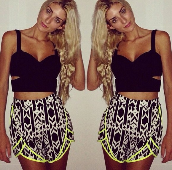 black and white shorts printed shorts neon high waisted short tank top