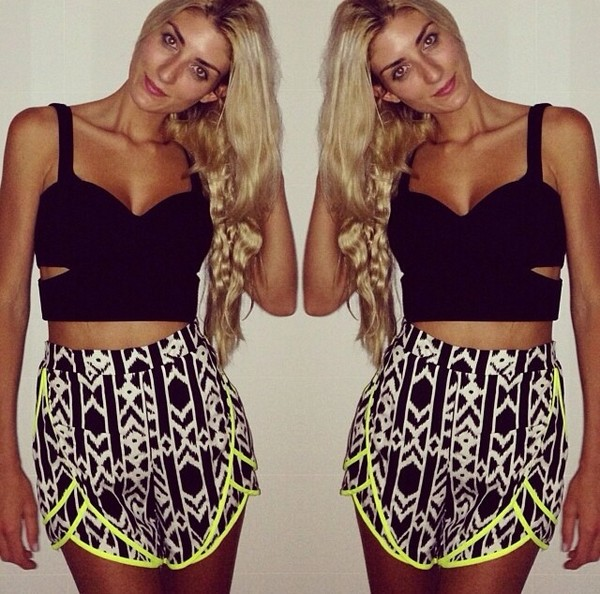 shorts printed shorts neon High waisted shorts black and white tank top Lydia Barakat neon jumpsuit