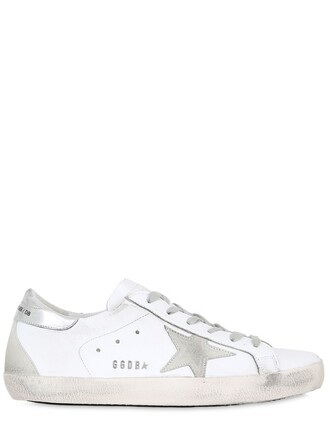 sneakers leather silver white shoes