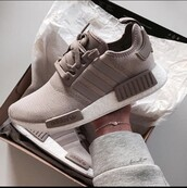 shoes,adidas,beige,nude,adidas shoes,winter outfits,adidas originals,brown,taupe,adidas nmd,adidas nmd women's,adidas nmd nude,adidas nmd taupe,nmd_r1,clothes,sneakers,white,nude adidas,adidas nmd r1