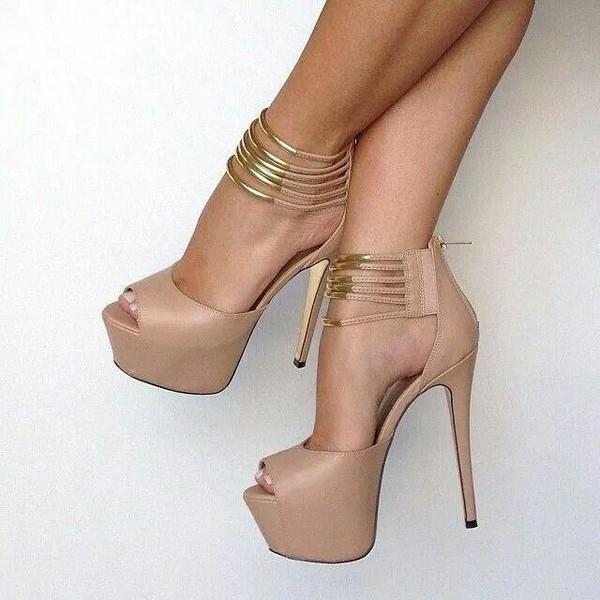 shoes nude high heels beige dress beige gold strappy heels platform shoes platform high heels high heels