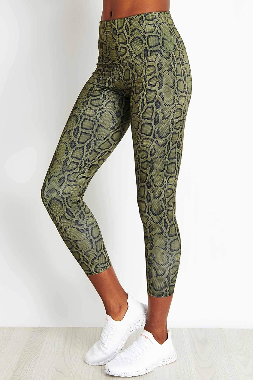 Onzie High Basic Midi Legging - Olive Cobra - S/M Multicolour UK S Multicolour