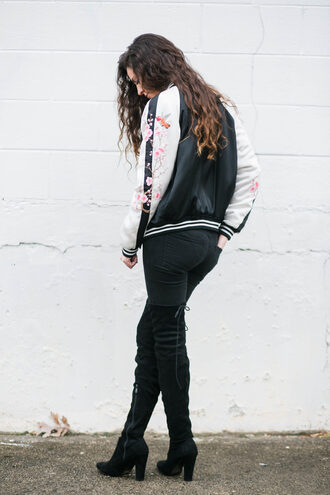 jacket tumblr bomber jacket satin bomber black bomber jacket floral embroidered embroidered jacket jeans denim black jeans boots black boots over the knee boots thigh high boots high heels boots