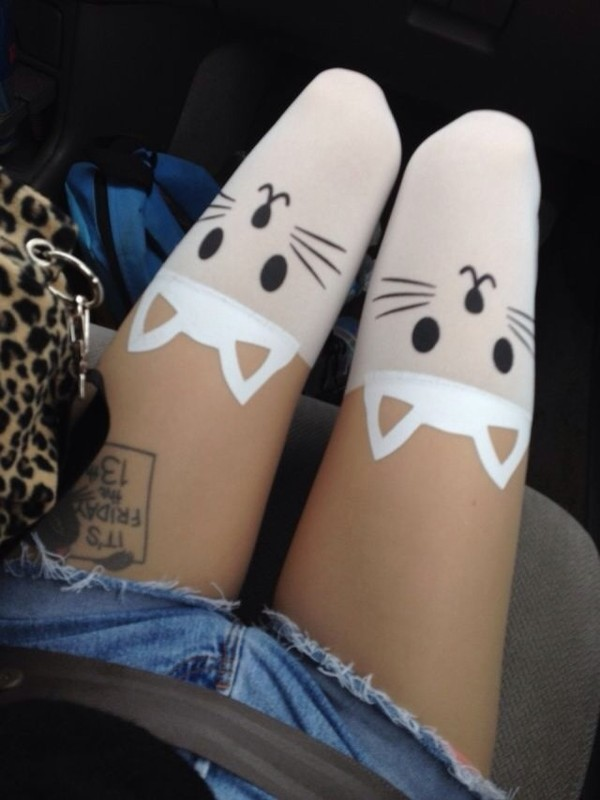 pants cats cats knee high socks knee high socks socks cat socks bralette clothes cats cats cute underwear tights printed tights hose pale white sexy car animal stockings leggings black kitten print kitty tights cat tights white skirt