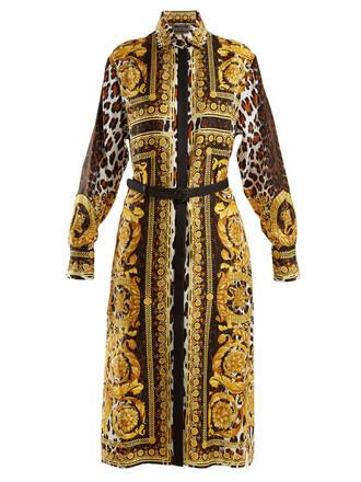 shirtdress animal print silk gold dress