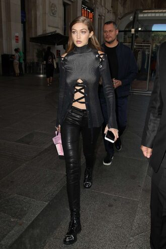 blouse top all black everything streetwear streetstyle model off-duty gigi hadid pants lace up fall outfits
