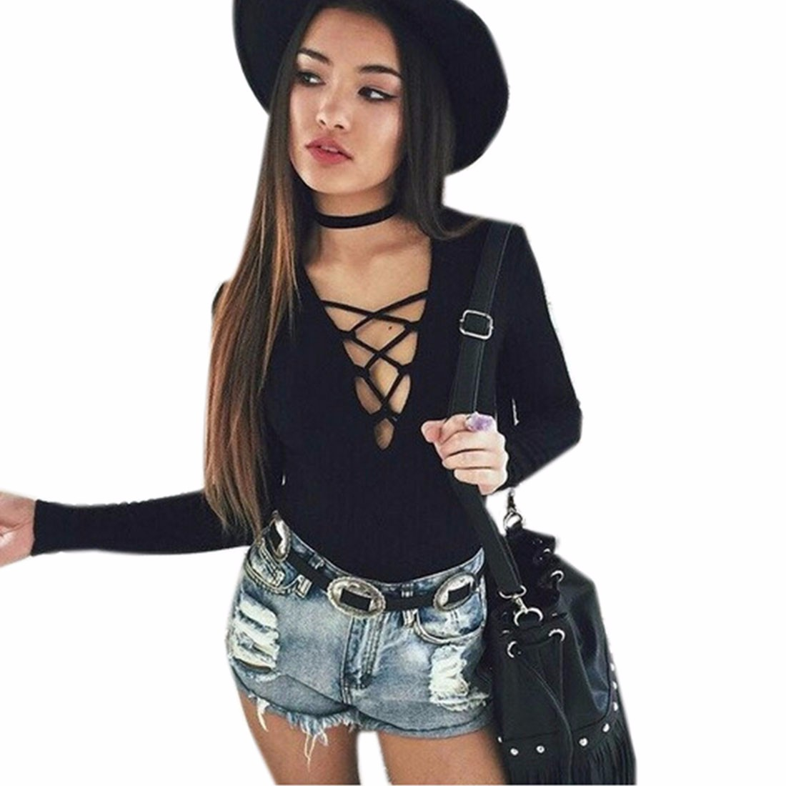 5d2f6feb08 New Sexy Women Black Long Sleeve Lace Up Bodysuit Top Bodycon ...