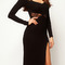 Black long sleeve sheer lace back slit bodycon dress - choies.com