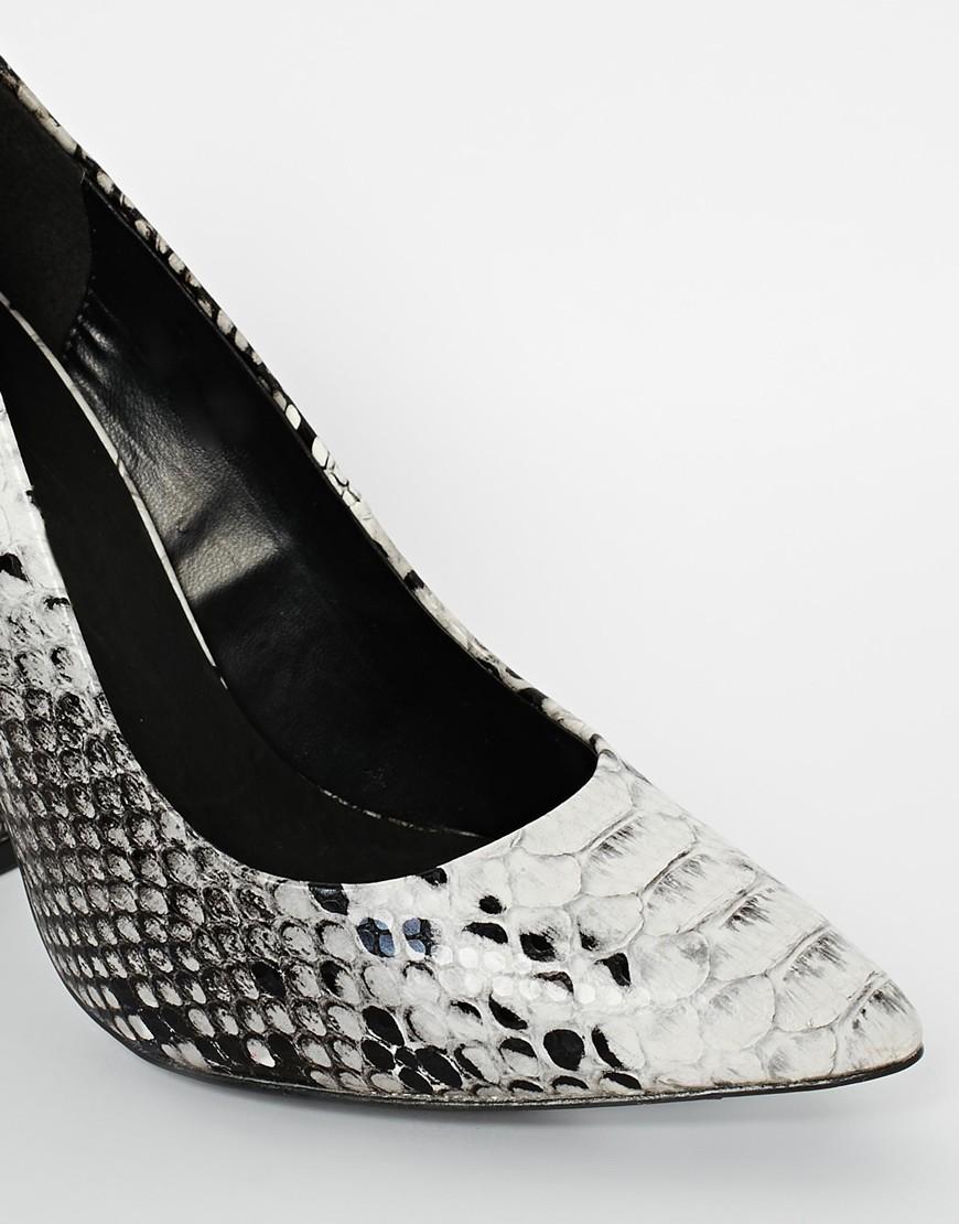 River Island Block Heel Court Snake Print Shoes at asos.com