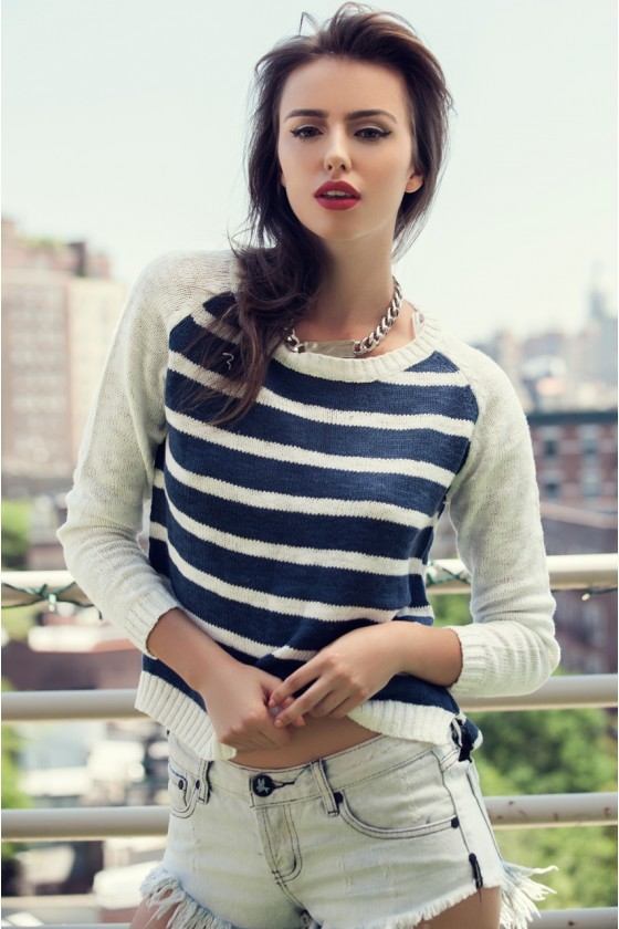 Navy & Cream Striped Sweater