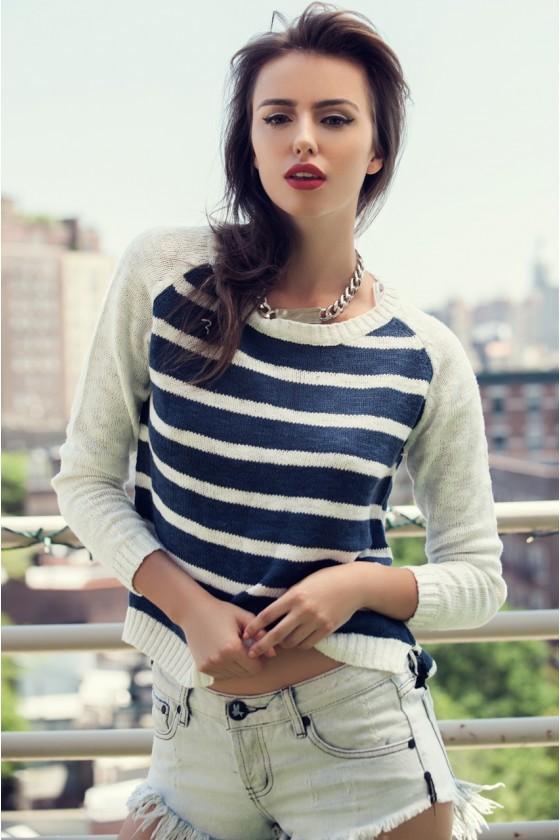 Navy & Cream Striped Sweater