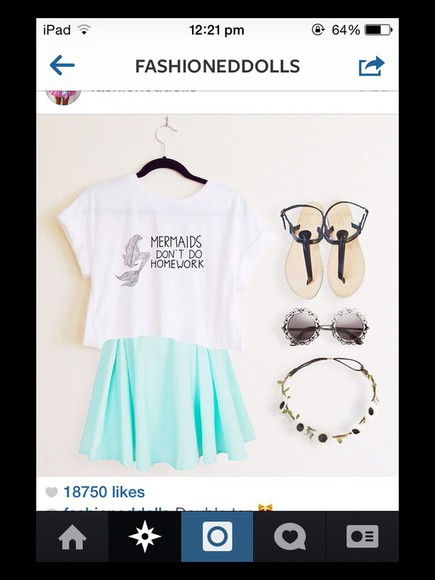 galaxy skirt clothes top sunglasses mermaid sandals tumblr clothes flower crown Crop top