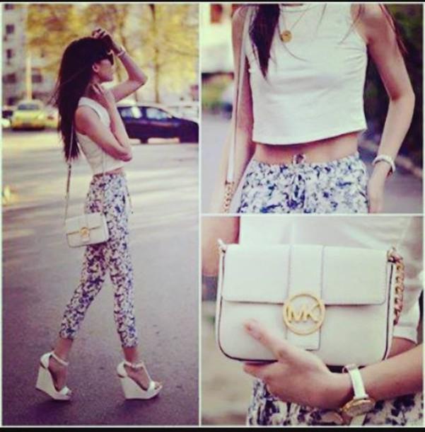 pants high waisted heels high heels platform heels bag purse crop tops shorts t-shirt top necklace high waisted pants flowers floral floral pants