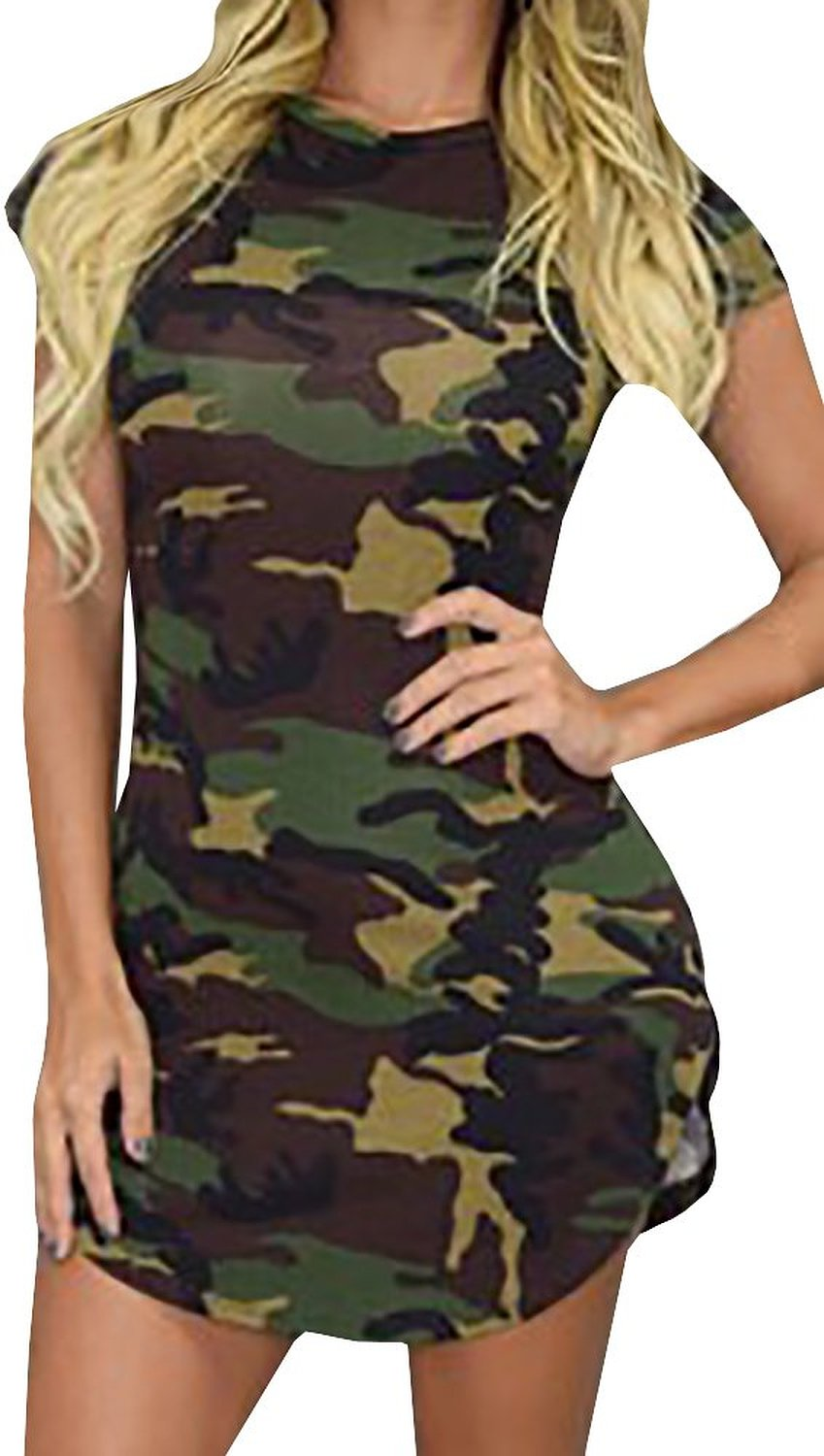 Candoit Women's Sexy Club Bodycon Slit Package Hip Camouflage Dress | Amazon.com