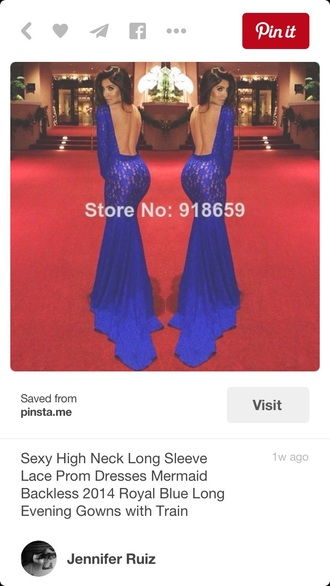 dress prom blue backless lace long