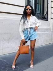 shorts,top,shirt,shoes,belt,sunglasses,white sunglasses