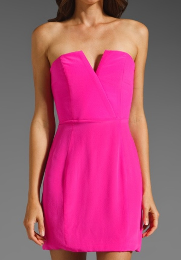 Dress: hot pink dress, strapless dress - Wheretoget