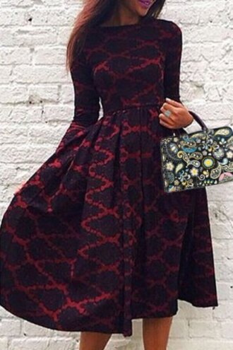 dress red black fashion long sleeves vintage long sleeve rhombus printed high waist ball gown dress for women midi dress pattern trendy fall outfits rosegal dec rosegal-dec