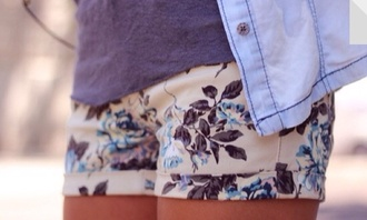 shorts floral flowers flowered shorts blue flowers
