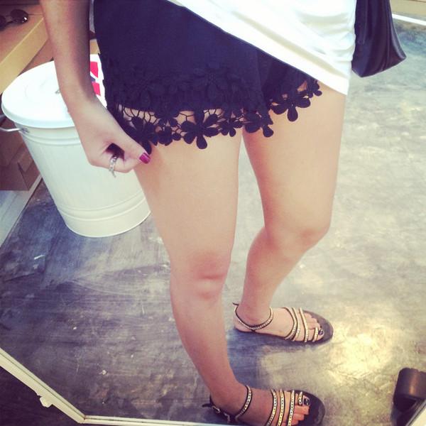 shorts lace lace up shoes cotton black fashion nail polish nails beauty fashion shopping girly