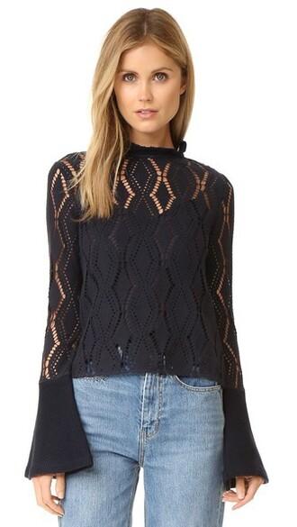 blouse open navy top
