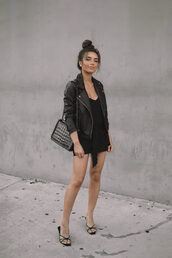 jacket,black dress,short dress,denim jacket,shoes,bag