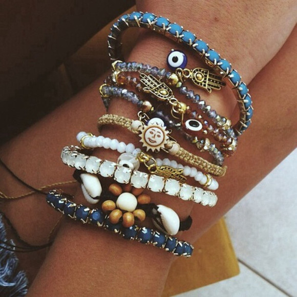 brown jewels blue stacking bracelets bracelets